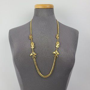 Gold Tone Fish Chain Necklace